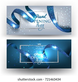 Grand opening elegant cards with long blue ribbons with pattern. Vector illustration