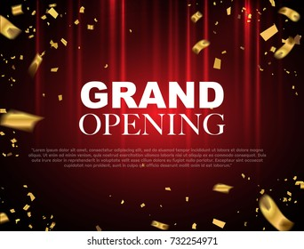 Grand opening event design gold confetti