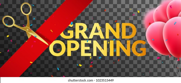 Grand Opening event invitation banner with balloons and confetti. Grand Opening poster template design isolated.