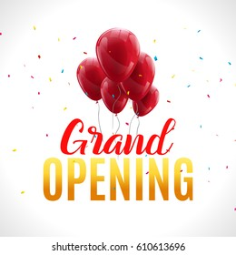 Grand Opening event invitation banner with red balloons and confetti. Grand Opening ceremony poster template design