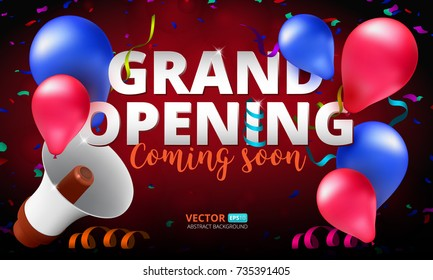 Grand Opening event invitation banner or poster design template. Vector illustration of megaphone, air balloons and confetti. Perfect to use for advertising design your web site or print publications