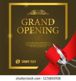 Grand Opening Event template with cutting red ribbon with scissors and golden vintage flourish ornament. Poster banner label. vector illustration.