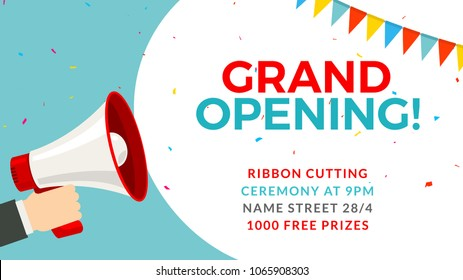 Grand opening flyer banner template. Marketing business concept with megaphone. Grand Opening advertising.