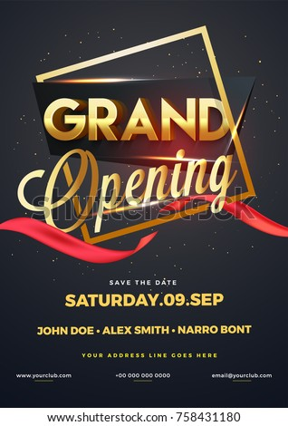Grand Opening Flyer | Grand Opening Flyer Invitation Card Stock Vektorgrafik Lizenzfrei