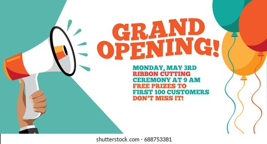 Grand opening flyer, marketing or banner background template with fun balloons. EPS 10 vector.