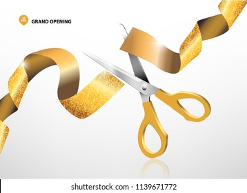 Grand opening with glitter ribbon and scissors