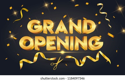 Grand opening golden text with gold scissors cutting gold ribbon on black sparkling background.