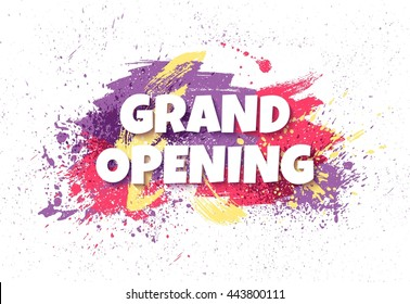 Grand opening horizontal banner with colorful paint splatters. Grand opening concept. Vector illustration