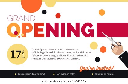Grand opening horizontal banner. Hand holding scissors and cutting red ribbon.  Flat  style. Vector Illustration