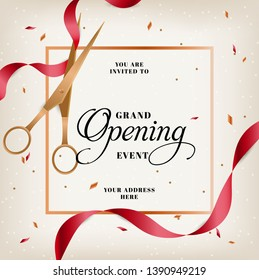 Grand opening horizontal banner. Text with confetti, golden splashes and ribbons.Gold sparkles.