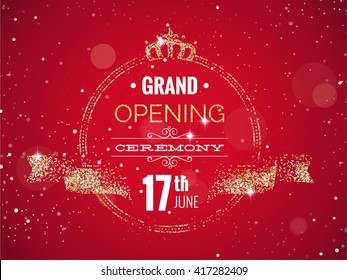 Grand opening horizontal banner. Text with  golden splashes  and ribbons.Gold sparkles.  Elegant style. Vector Illustration