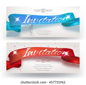 Grand Opening horizontal banners with sparkling red and blue ribbon  and scissors. Vector illustration