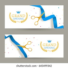Grand Opening invitation banner. Blue Ribbon ribbon cut ceremony event. Grand opening celebration card.