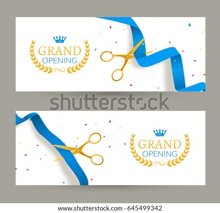 Grand Opening Invitation Banner Blue Ribbon Image Vectorielle De