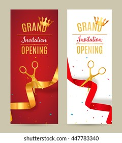 Grand Opening invitation banner. Golden and red Ribbon cut ceremony event. Grand opening celebration card.