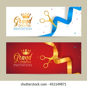 Inauguration invitation images stock photos vectors shutterstock grand opening invitation banner golden ribbon and blue ribbon cut ceremony event grand opening stopboris Gallery