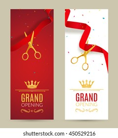 Grand Opening invitation banner. Red Ribbon cut ceremony event. Grand opening celebration card.