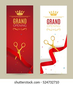 Grand Opening invitation banner. Red Ribbon cut ceremony event. Grand opening celebration card