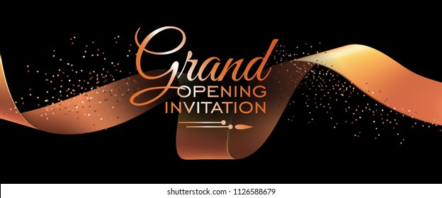 Grand opening invitation banner template with gold ribbon and confetti on black background. Festive design can be used for invitation cards, flyers, posters