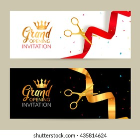 Grand Opening invitation banners. Ribbon cut ceremony event. Grand opening celebration card.