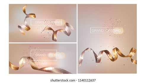 Grand Opening  invitation beige cards  with sparkling ribbons. Vector illustration