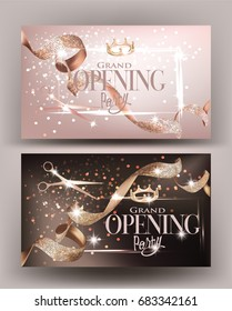 Grand Opening invitation beige cards with curly  ribbons and scissors. Vector illustration