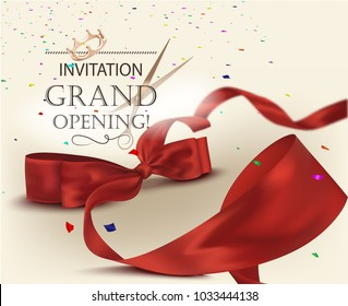 Grand opening invitation card with beautiful curly ribbon and colorful confetti. Vector illustration
