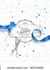 Grand opening invitation card with blue silk ribbon and scissors