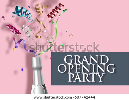 grand opening invitation card bottle champagne stock vector royalty