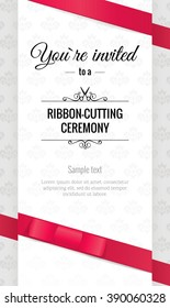 Grand opening invitation card with bows. Elegant style. Vector illustration
