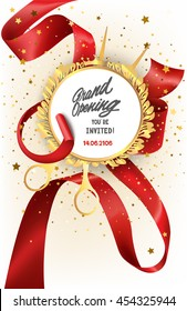 Grand opening Invitation card with curled silk ribbon, scissors and floral frame. Vector illustration