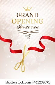 Grand opening invitation card with cut red ribbon and gold scissors. Vector background with light effect