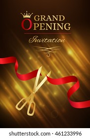 Grand opening invitation banner red ribbon stock photo photo grand opening invitation card with cut red ribbon and gold scissors dark vector background with stopboris Gallery