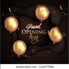 grand opening invitation card with deco elements and halftone background. Vector illustration