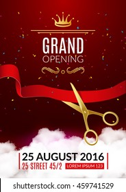 Grand Opening invitation card. Grand Opening Event invitation flyer banner or poster design template.