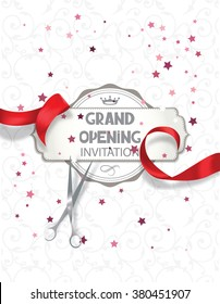Grand opening invitation card with red silk ribbon and scissors