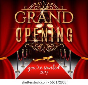Grand opening invitation card with red theater curtains and velvet carpet. Elegant inscription. Vector illustration.