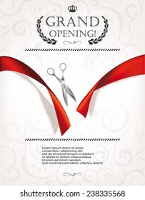 Grand opening invitation card with silver scissors