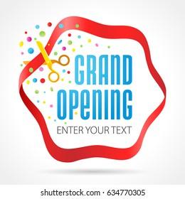 Grand opening invitation card. Vector illustration.