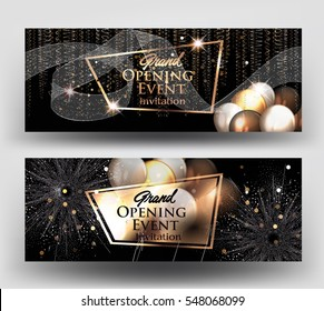 Grand opening invitation cards with air balloons and gold serpentine and fireworks. Vector illustration