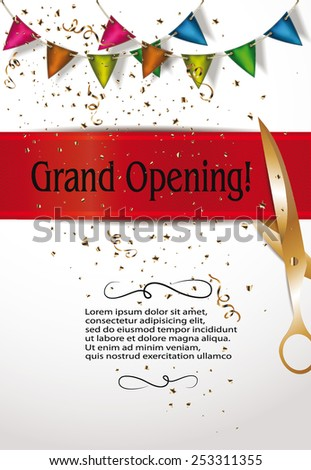 Grand opening invitation cards decorations red stock vector royalty grand opening invitation cards with decorations and red ribbon m4hsunfo