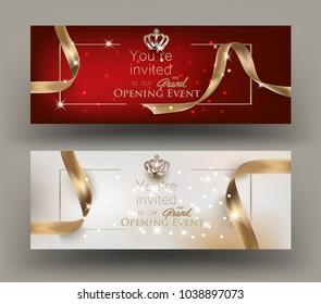 Grand opening invitation cards with gold frame and ribbons. Vector illustration