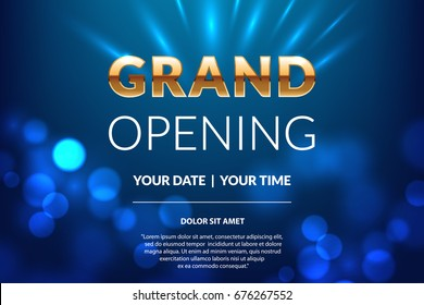 Grand opening invitation concept. Celebration design. Gold glitter letters on abstract background with light effect. Applicable for banner, flyer, presentation and poster design.
