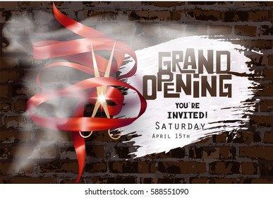 Grand opening invitation with curly ribbon, scissors , white smoke and brick wall on the background. Vector illustration
