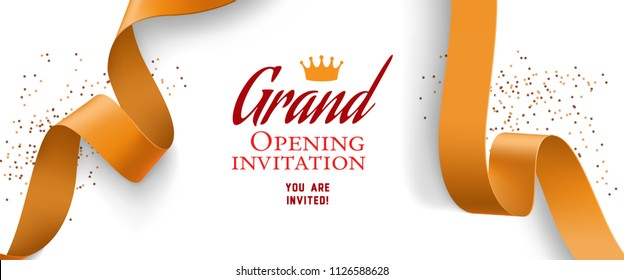Grand opening invitation design with confetti, gold ribbons and crown. Festive template can be used for banners, flyers, posters.
