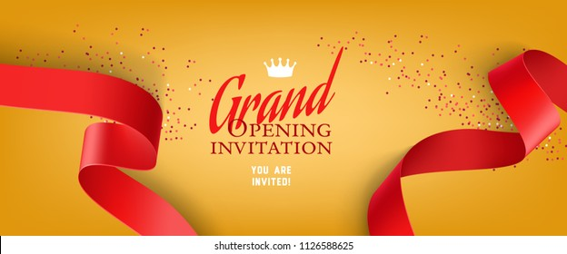 Grand opening invitation design with red ribbons, crown and confetti. Festive template can be used for banners, flyers, posters.