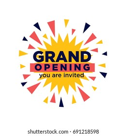 Grand opening invitation minimalistic illustration with firework explosion