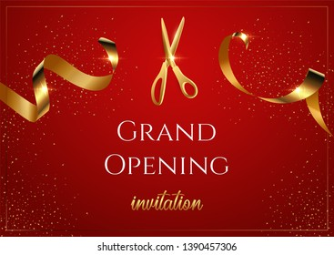 Grand opening invitation vector banner. Mall, store sales promotional poster. Shiny scissors cutting golden ribbon 3D realistic illustration. Serpentine with gradient effect. Advertising campaign