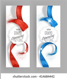 Grand opening invitation vertical cards with  abstract shiny ribbons