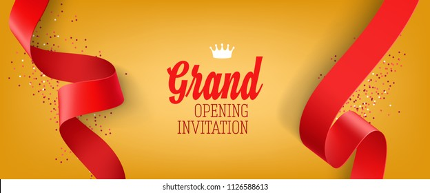 Grand opening invitation yellow banner design with red ribbon, crown and confetti. Festive template can be used for banners, flyers, posters.